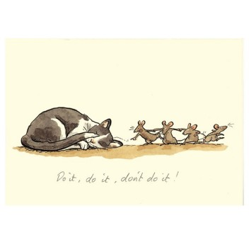 Carte illustrée Anita Jeram - Chat et souris Do it, do it, don't do it !