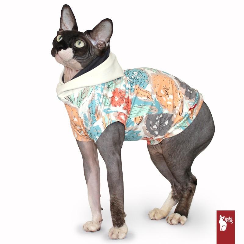 Sweat Capuchon Fleuri - Vêtement pour chat